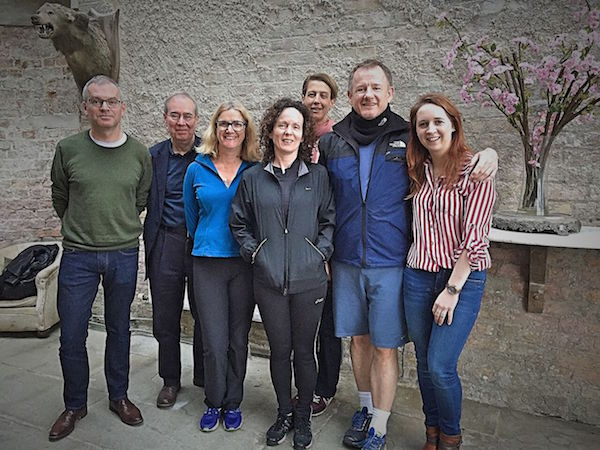From left to right: Tutors Mike Gogan, John Simmons. New Dark Angels Olive Hill, Fiona McArena, Lucy Beevor, Brian McIntyre, Megan Kelly.